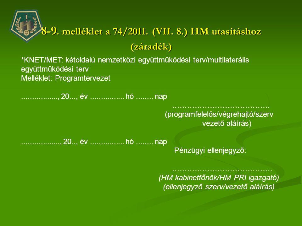 8-9. melléklet a 74/2011. (VII. 8.) HM utasításhoz (záradék) *KNET/MET: kétoldalú nemzetközi együttműködési terv/multilaterális együttműködési terv Me