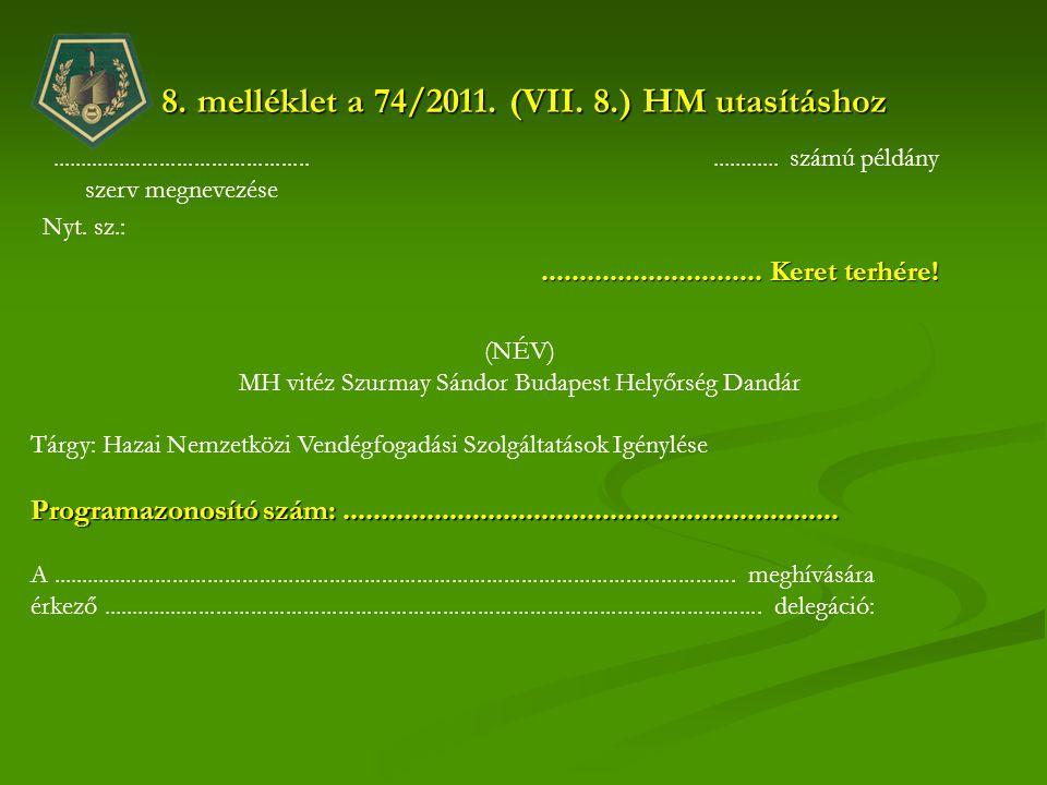 8. melléklet a 74/2011. (VII. 8.) HM utasításhoz............................................. szerv megnevezése Nyt. sz.:............ számú példány...