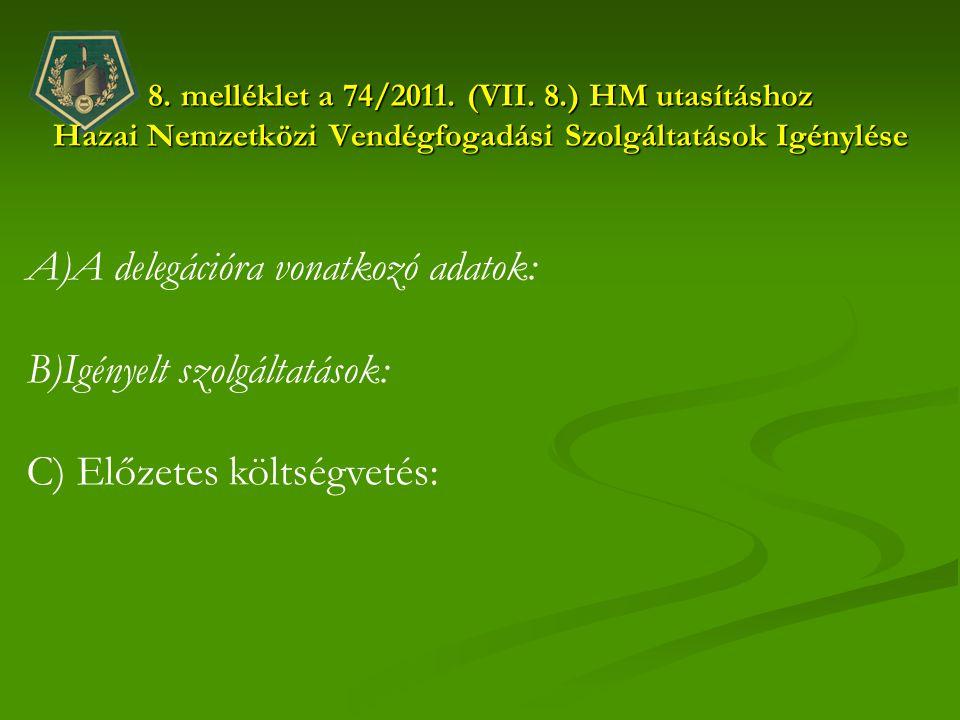 8. melléklet a 74/2011. (VII. 8.) HM utasításhoz Hazai Nemzetközi Vendégfogadási Szolgáltatások Igénylése A)A delegációra vonatkozó adatok: B)Igényelt