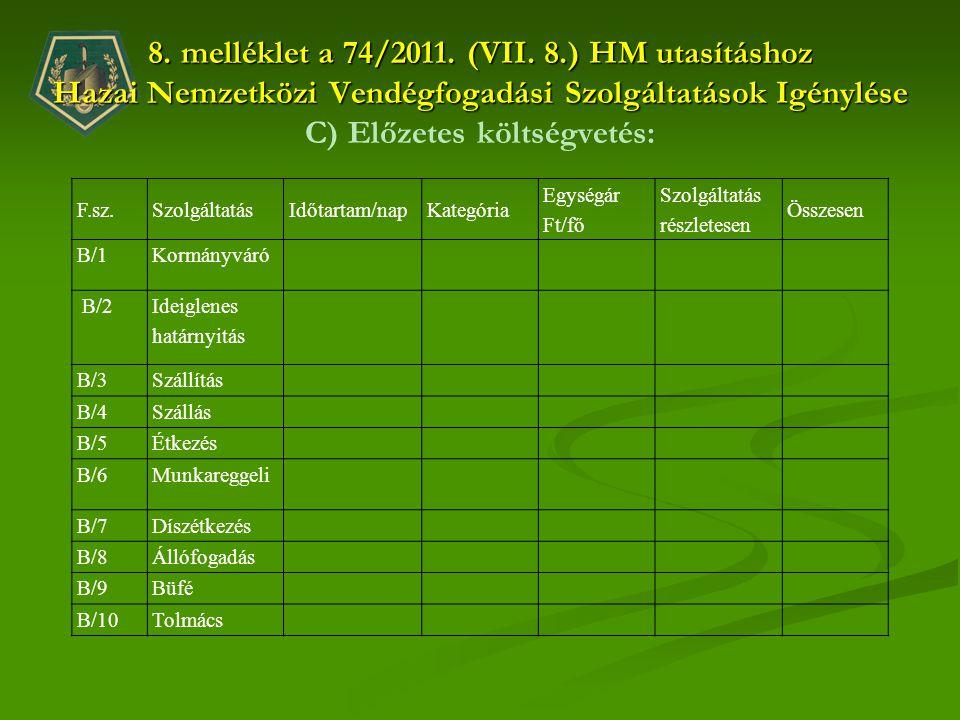 8. melléklet a 74/2011. (VII. 8.) HM utasításhoz Hazai Nemzetközi Vendégfogadási Szolgáltatások Igénylése 8. melléklet a 74/2011. (VII. 8.) HM utasítá