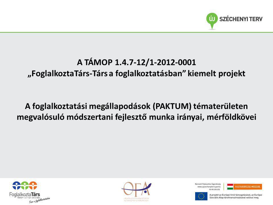 A módszertani fejlesztés célja  A foglalkoztatási megállapodások szakmai, minőségi sztenderdjeinek kidolgozása.