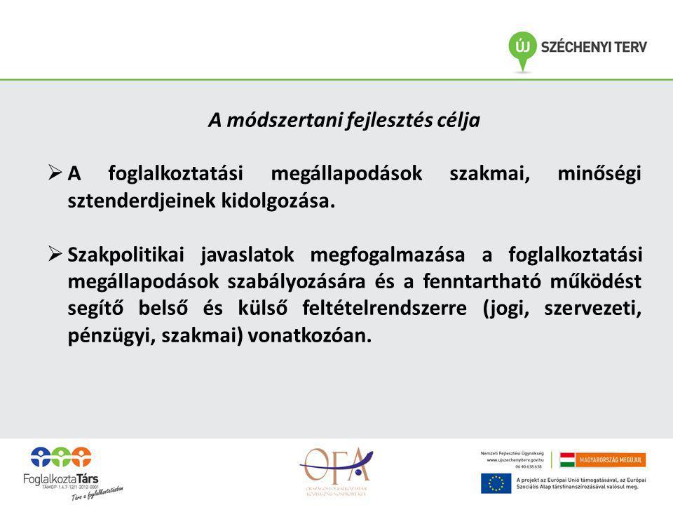 A módszertani fejlesztés célja  A foglalkoztatási megállapodások szakmai, minőségi sztenderdjeinek kidolgozása.  Szakpolitikai javaslatok megfogalma