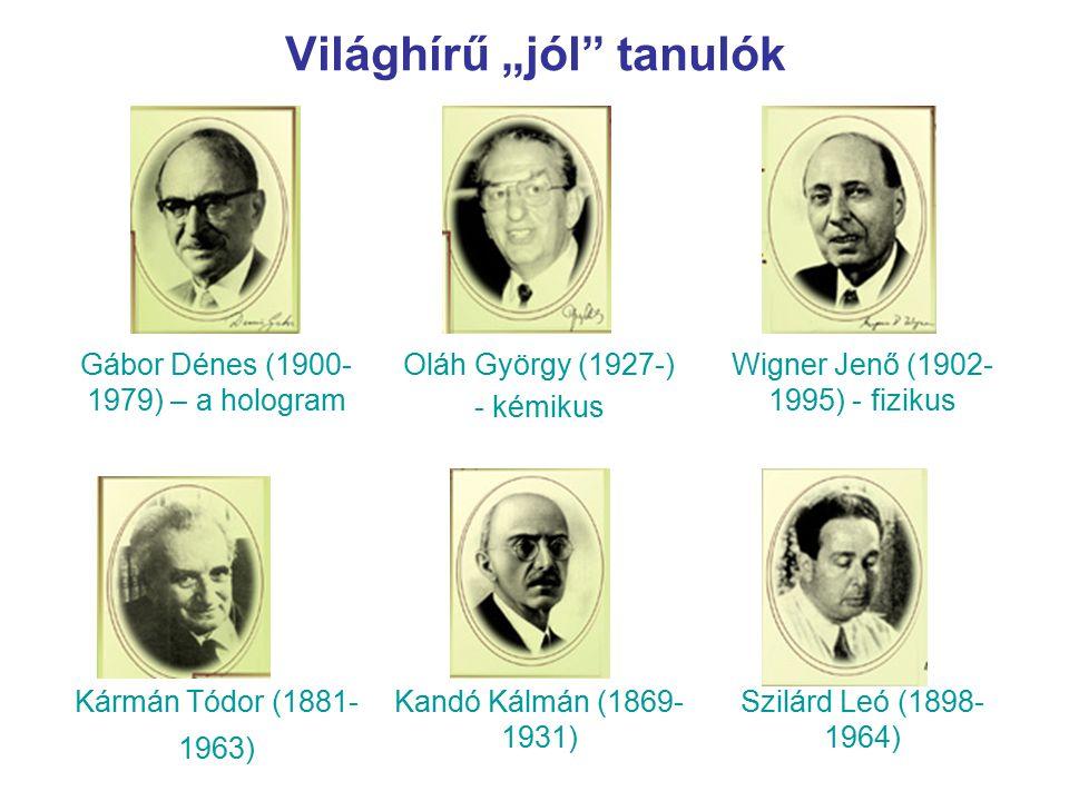 Gábor Dénes (1900- 1979) – a hologram Oláh György (1927-) - kémikus Wigner Jenő (1902- 1995) - fizikus Kármán Tódor (1881- 1963) Kandó Kálmán (1869- 1