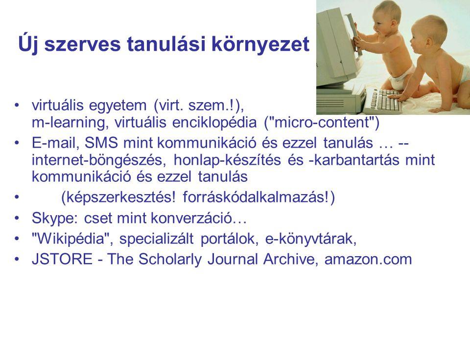Új szerves tanulási környezet virtuális egyetem (virt. szem.!), m-learning, virtuális enciklopédia (