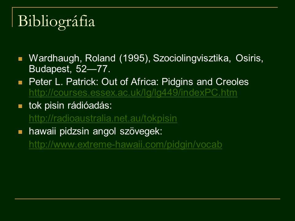 Bibliográfia Wardhaugh, Roland (1995), Szociolingvisztika, Osiris, Budapest, 52—77.