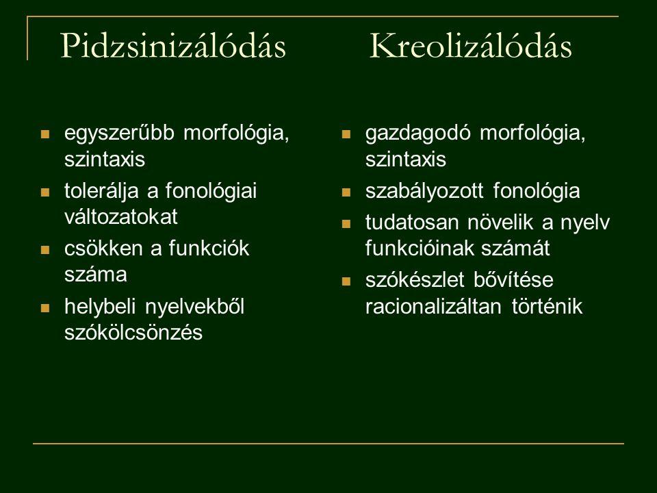 PidzsinizálódásKreolizálódás egyszerűbb morfológia, szintaxis tolerálja a fonológiai változatokat csökken a funkciók száma helybeli nyelvekből szókölcsönzés gazdagodó morfológia, szintaxis szabályozott fonológia tudatosan növelik a nyelv funkcióinak számát szókészlet bővítése racionalizáltan történik