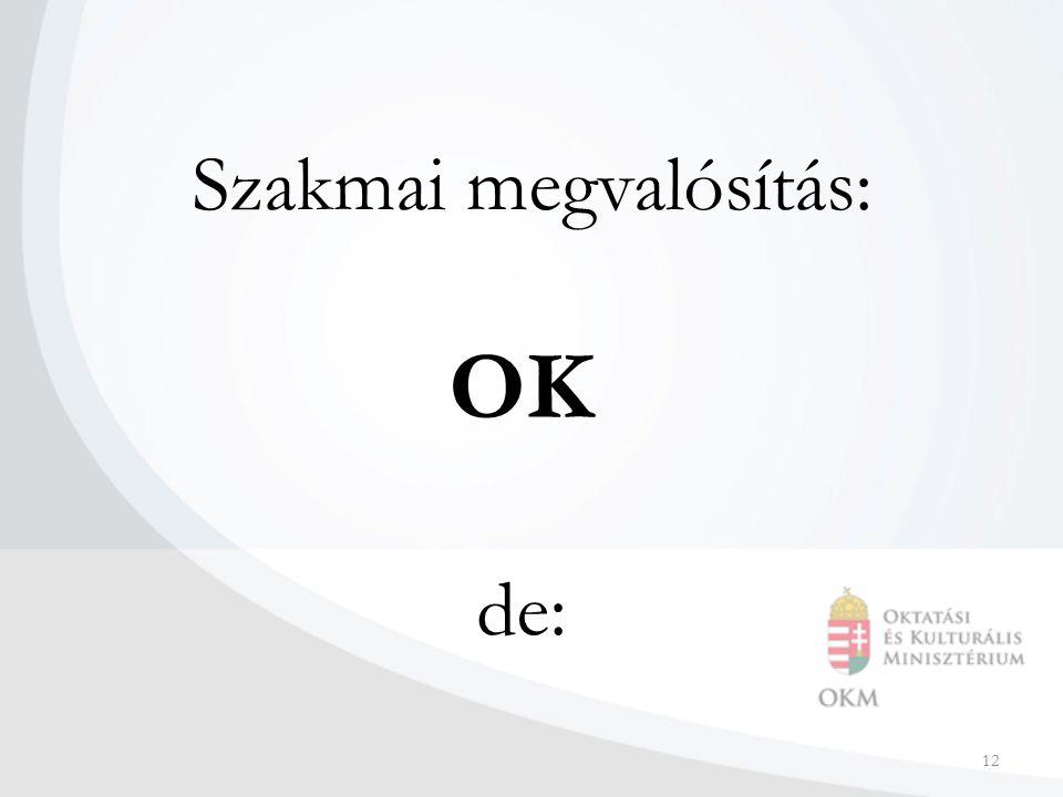 12 Szakmai megvalósítás: OK de: