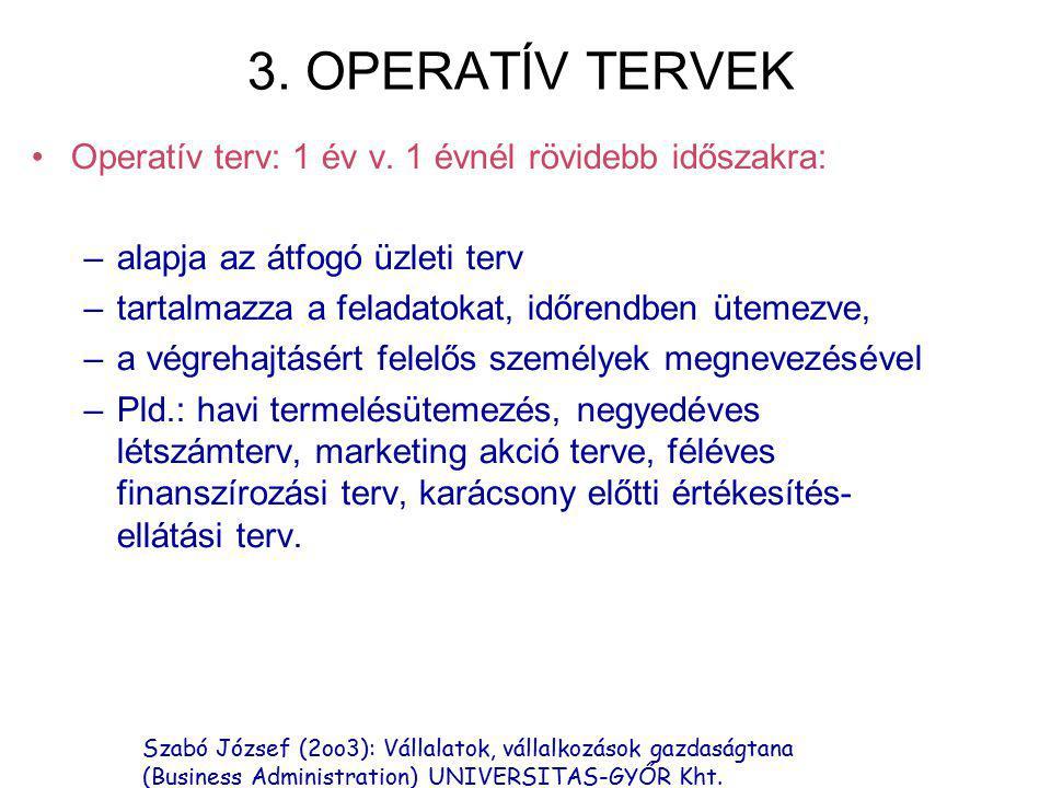 Szabó József (2oo3): Vállalatok, vállalkozások gazdaságtana (Business Administration) UNIVERSITAS-GYŐR Kht. 3. OPERATÍV TERVEK Operatív terv: 1 év v.