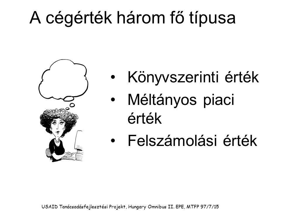 USAID Tanácsadásfejlesztési Projekt, Hungary Omnibus II. EPE, MTFP 97/7/15 A cégérték három fő típusa Könyvszerinti érték Méltányos piaci érték Felszá