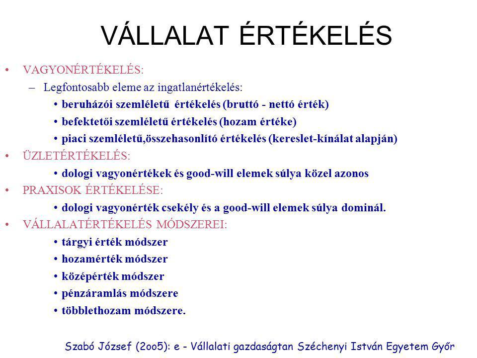 Szabó József (2oo5): e - Vállalati gazdaságtan Széchenyi István Egyetem Győr VÁLLALAT ÉRTÉKELÉS VAGYONÉRTÉKELÉS: –Legfontosabb eleme az ingatlanértékelés: beruházói szemléletű értékelés (bruttó - nettó érték) befektetői szemléletű értékelés (hozam értéke) piaci szemléletű,összehasonlító értékelés (kereslet-kínálat alapján) ÜZLETÉRTÉKELÉS: dologi vagyonértékek és good-will elemek súlya közel azonos PRAXISOK ÉRTÉKELÉSE: dologi vagyonérték csekély és a good-will elemek súlya dominál.
