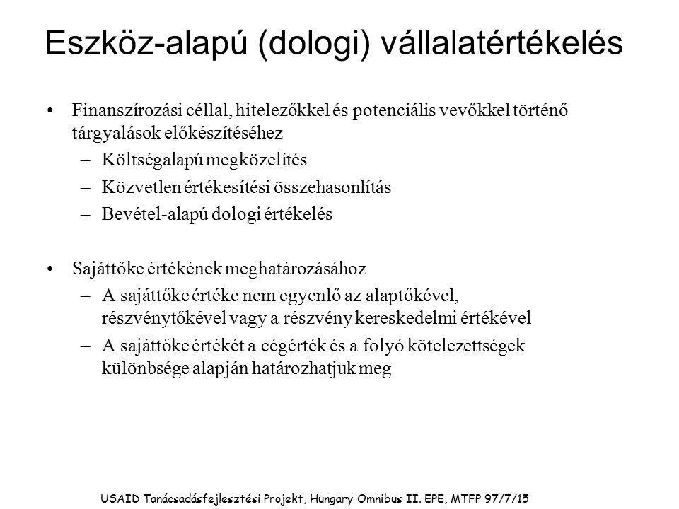 USAID Tanácsadásfejlesztési Projekt, Hungary Omnibus II. EPE, MTFP 97/7/15 Eszköz-alapú (dologi) vállalatértékelés Finanszírozási céllal, hitelezőkkel