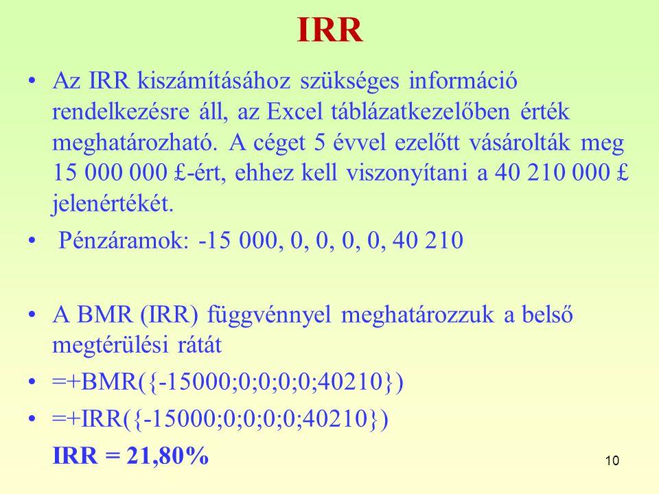 IRR Az IRR kiszámításához szükséges információ rendelkezésre áll, az Excel táblázatkezelőben érték meghatározható. A céget 5 évvel ezelőtt vásárolták