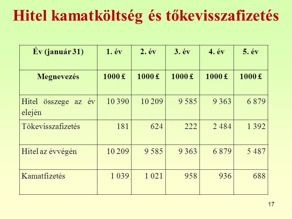 Hitel kamatköltség és tőkevisszafizetés 17 Év (január 31)1. év2. év3. év4. év5. év Megnevezés1000 £ Hitel összege az év elején 10 39010 2099 5859 3636
