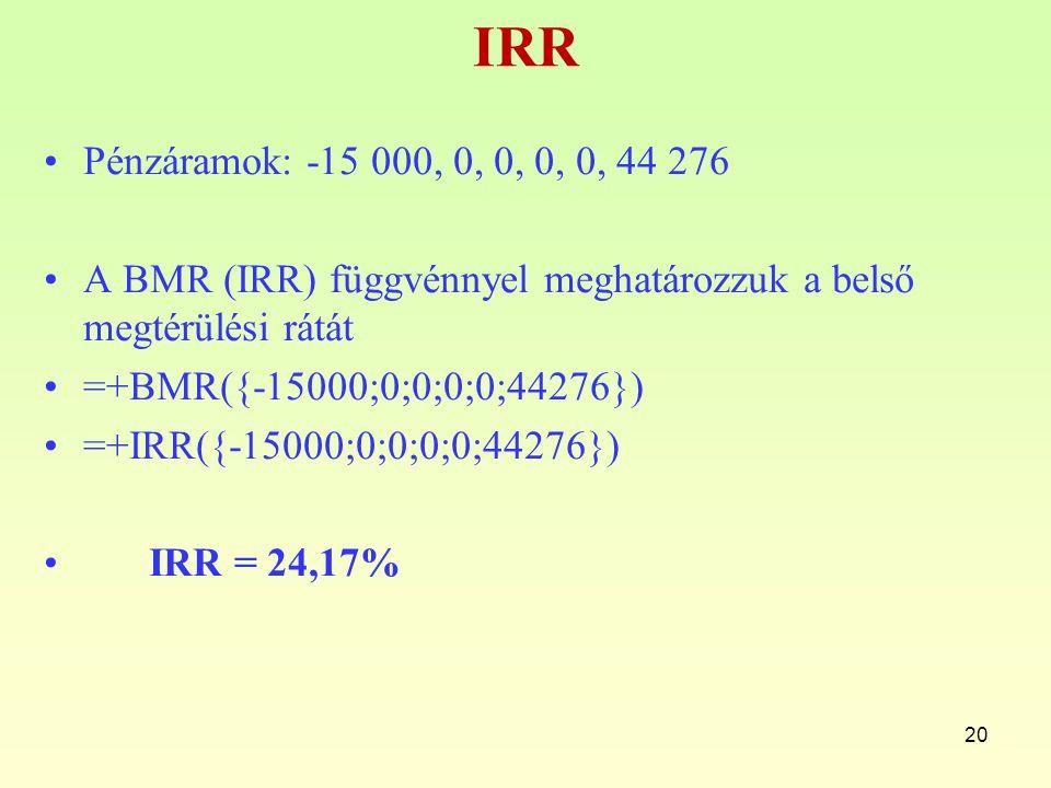 IRR Pénzáramok: -15 000, 0, 0, 0, 0, 44 276 A BMR (IRR) függvénnyel meghatározzuk a belső megtérülési rátát =+BMR({-15000;0;0;0;0;44276}) =+IRR({-1500