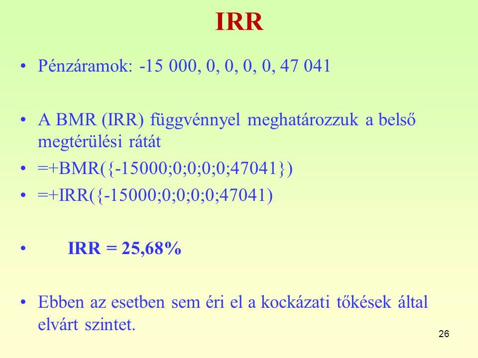 IRR Pénzáramok: -15 000, 0, 0, 0, 0, 47 041 A BMR (IRR) függvénnyel meghatározzuk a belső megtérülési rátát =+BMR({-15000;0;0;0;0;47041}) =+IRR({-1500