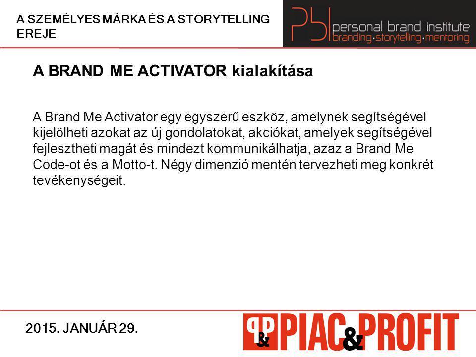 A BRAND ME ACTIVATOR kialakítása A Brand Me Activator egy egyszerű eszköz, amelynek segítségével kijelölheti azokat az új gondolatokat, akciókat, amel