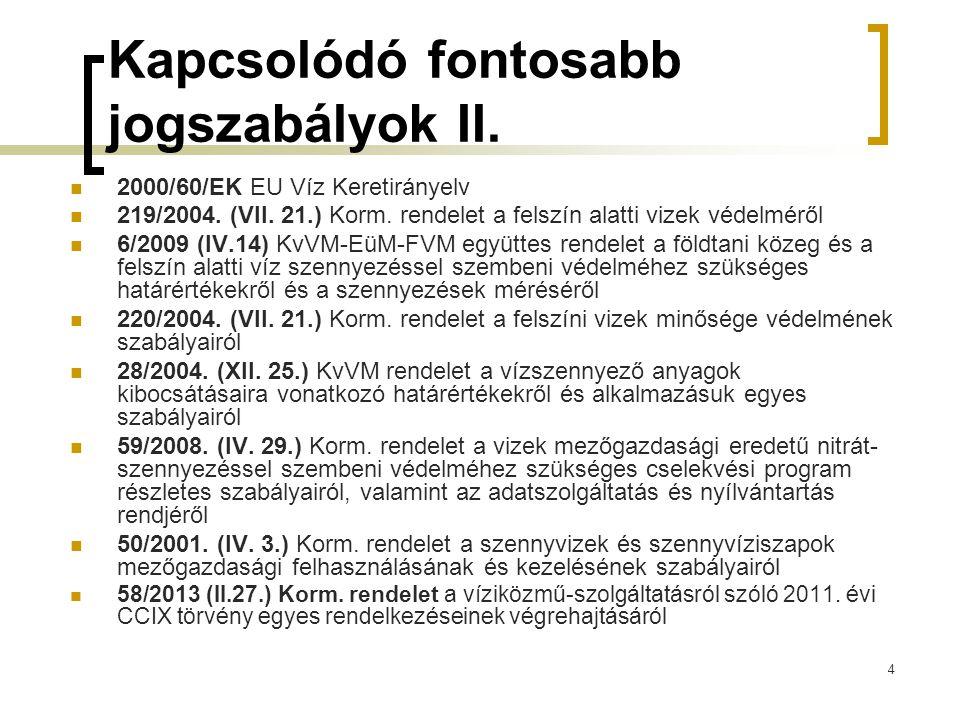 4 Kapcsolódó fontosabb jogszabályok II.2000/60/EK EU Víz Keretirányelv 219/2004.