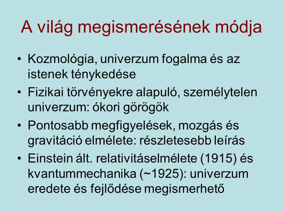 """Az ősrobbanás """"Szingularitás az elméletben 1951, katolikus egyház: az ősrobbanás és a Biblia összefér 1965, Penrose: fekete lyukak vizsgálata, összeomló csillagok szingularitása ~1970, Penrose, Hawking: általános relativitáselmélet → szingularitás t=0-ban Kis távolságok → kvantummechanika –Kvantummechanika + ált.relativitás = ?"""