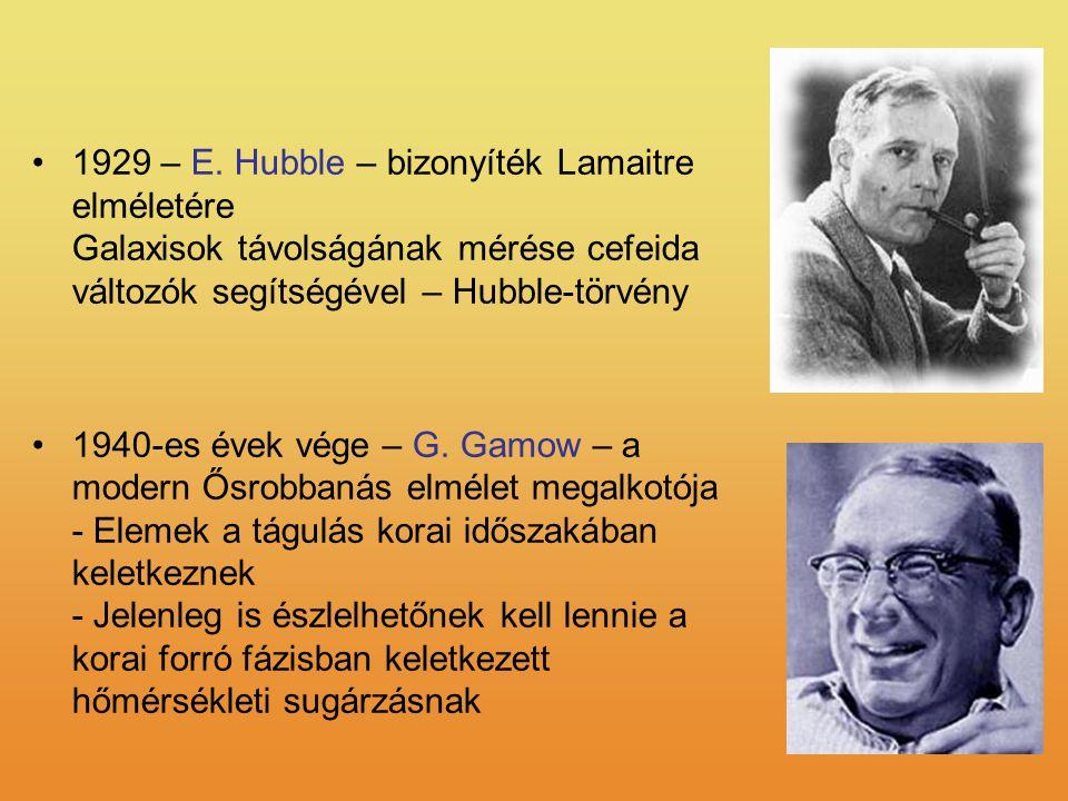 1929 – E. Hubble – bizonyíték Lamaitre elméletére Galaxisok távolságának mérése cefeida változók segítségével – Hubble-törvény 1940-es évek vége – G.