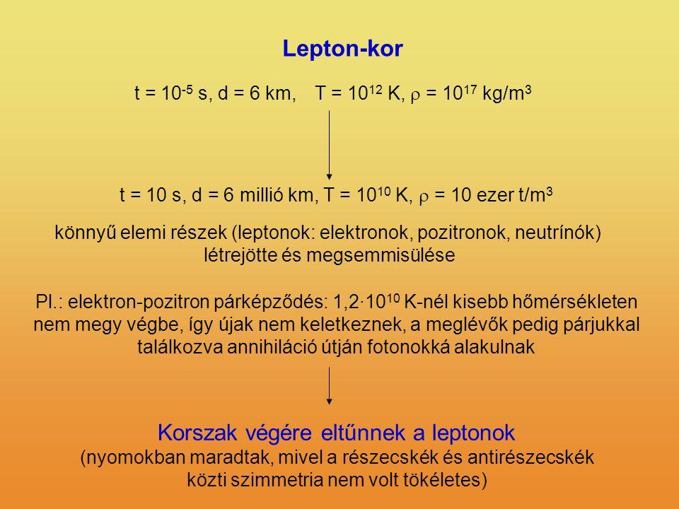 Lepton-kor t = 10 -5 s, d = 6 km,T = 10 12 K,  = 10 17 kg/m 3 t = 10 s, d = 6 millió km, T = 10 10 K,  = 10 ezer t/m 3 könnyű elemi részek (leptonok: elektronok, pozitronok, neutrínók) létrejötte és megsemmisülése Pl.: elektron-pozitron párképződés: 1,2·10 10 K-nél kisebb hőmérsékleten nem megy végbe, így újak nem keletkeznek, a meglévők pedig párjukkal találkozva annihiláció útján fotonokká alakulnak Korszak végére eltűnnek a leptonok (nyomokban maradtak, mivel a részecskék és antirészecskék közti szimmetria nem volt tökéletes)