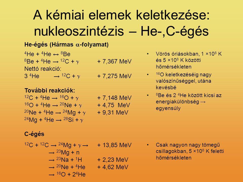 A kémiai elemek keletkezése: nukleoszintézis – He-,C-égés 4 He + 4 He ↔ 8 Be 8 Be + 4 He → 12 C +  + 7,367 MeV Nettó reakció: 3 4 He → 12 C +  + 7,2