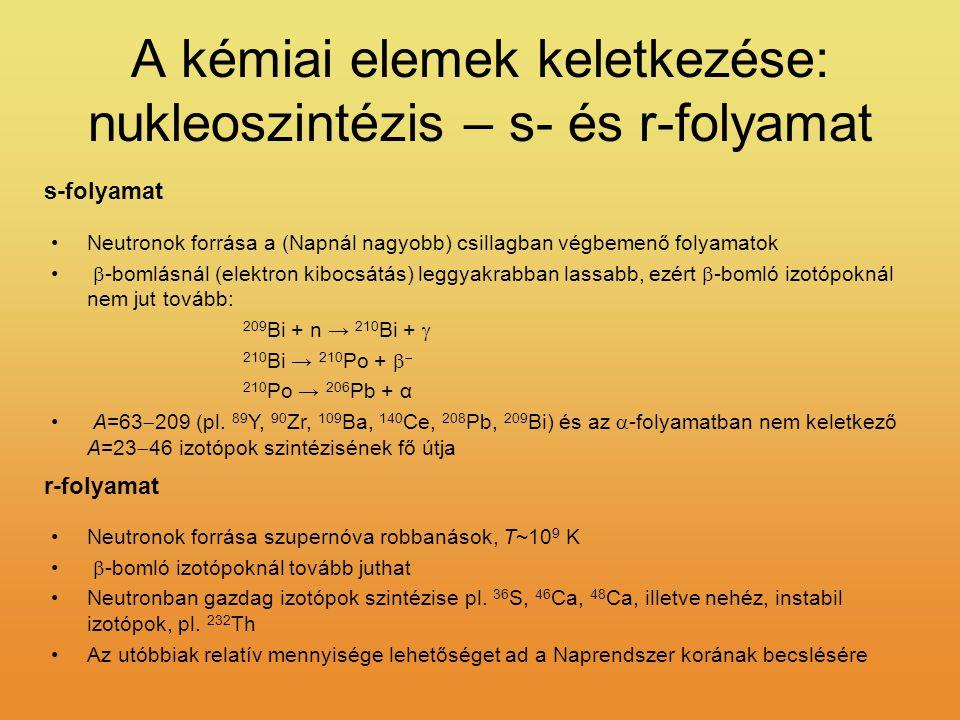 A kémiai elemek keletkezése: nukleoszintézis – s- és r-folyamat Neutronok forrása a (Napnál nagyobb) csillagban végbemenő folyamatok  -bomlásnál (elektron kibocsátás) leggyakrabban lassabb, ezért  -bomló izotópoknál nem jut tovább: 209 Bi + n → 210 Bi +  210 Bi → 210 Po +   210 Po → 206 Pb + α A=63  209 (pl.