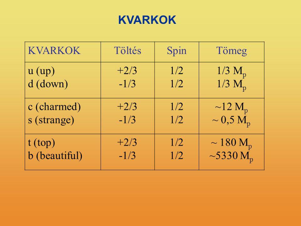 KVARKOK TöltésSpinTömeg u (up) d (down) +2/3 -1/3 1/2 1/3 M p c (charmed) s (strange) +2/3 -1/3 1/2 ~12 M p ~ 0,5 M p t (top) b (beautiful) +2/3 -1/3 1/2 ~ 180 M p ~5330 M p