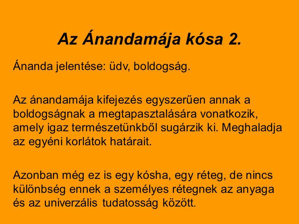 Az Ánandamája kósa 2. Ánanda jelentése: üdv, boldogság. Az ánandamája kifejezés egyszerűen annak a boldogságnak a megtapasztalására vonatkozik, amely