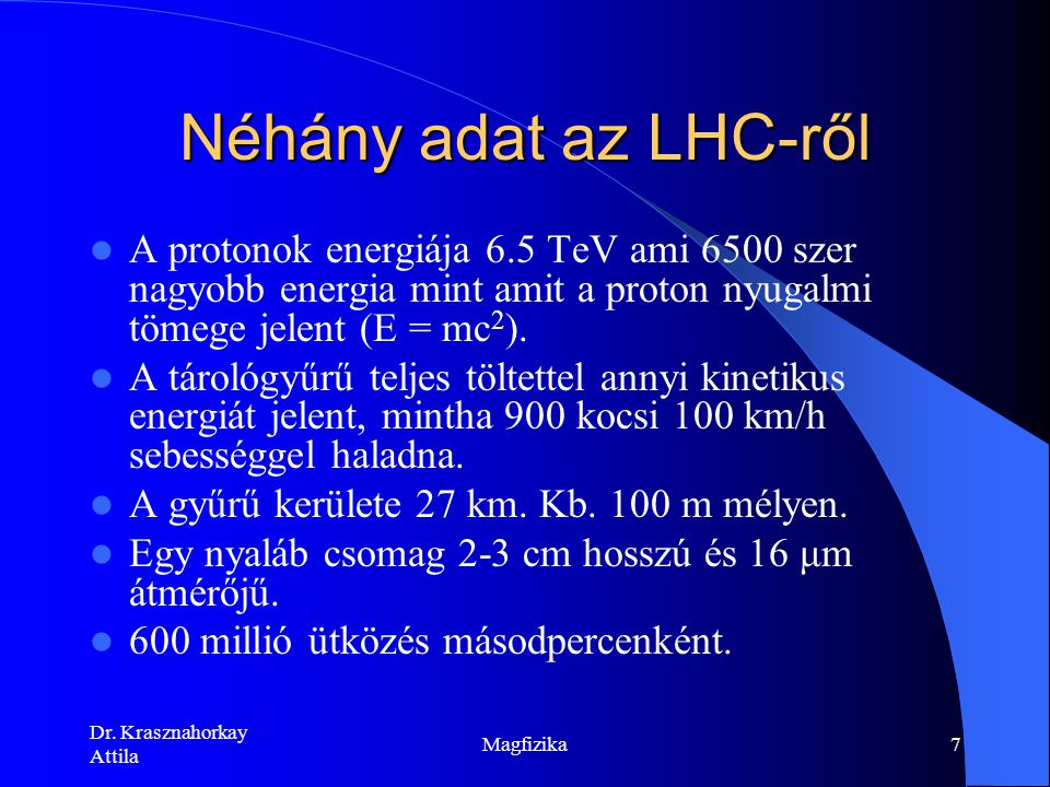 Dr. Krasznahorkay Attila Magfizika6 Légifelvétel a CERN-ről Genfi-tó Jura LEP/ LHC SPS PS Franciaország Svájc