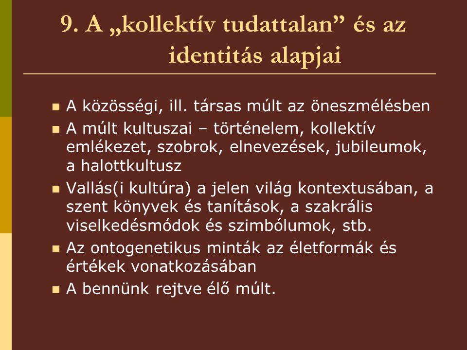 """9.A """"kollektív tudattalan és az identitás alapjai A közösségi, ill."""
