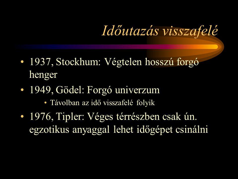 Időutazás visszafelé 1937, Stockhum: Végtelen hosszú forgó henger 1949, Gödel: Forgó univerzum Távolban az idő visszafelé folyik 1976, Tipler: Véges térrészben csak ún.