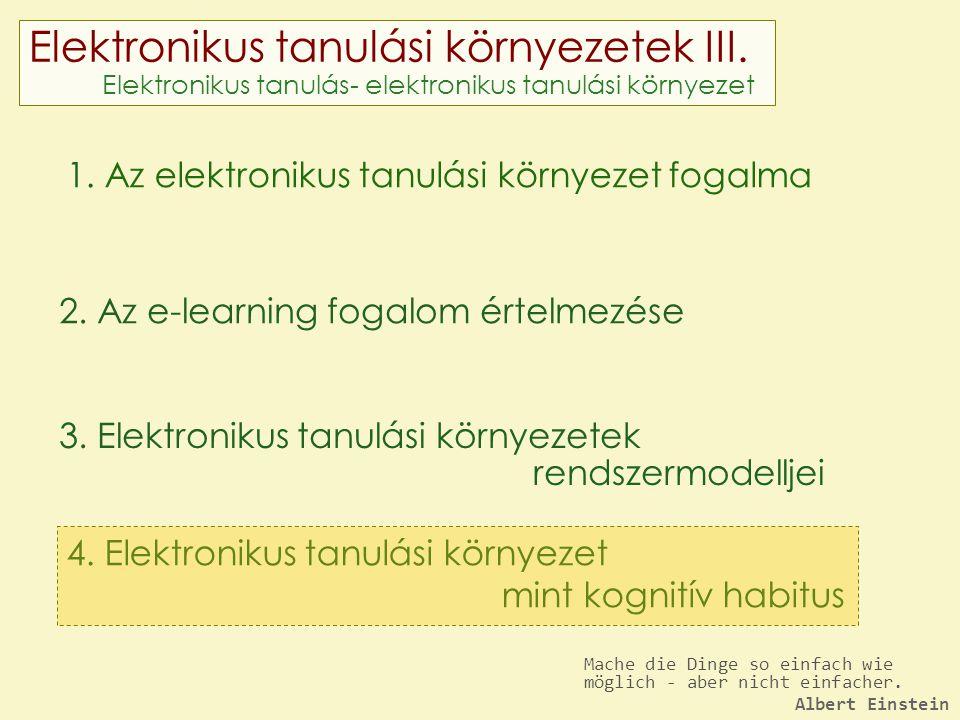 Elektronikus tanulási környezetek III. Elektronikus tanulás- elektronikus tanulási környezet 1.