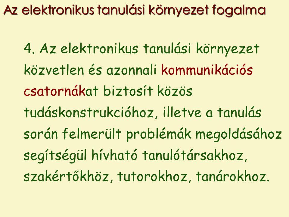 4. Az elektronikus tanulási környezet közvetlen és azonnali kommunikációs csatornákat biztosít közös tudáskonstrukcióhoz, illetve a tanulás során felm