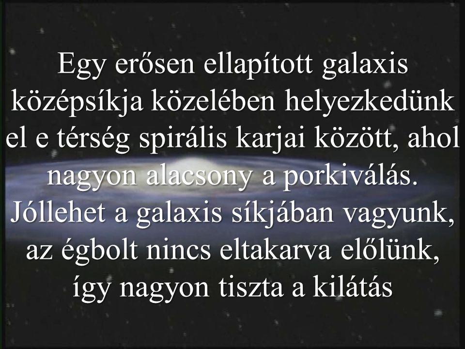 Egy erősen ellapított galaxis középsíkja közelében helyezkedünk el e térség spirális karjai között, ahol nagyon alacsony a porkiválás. Jóllehet a gala