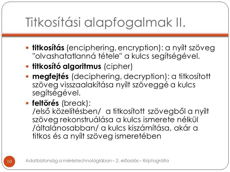 Titkosítási alapfogalmak II.