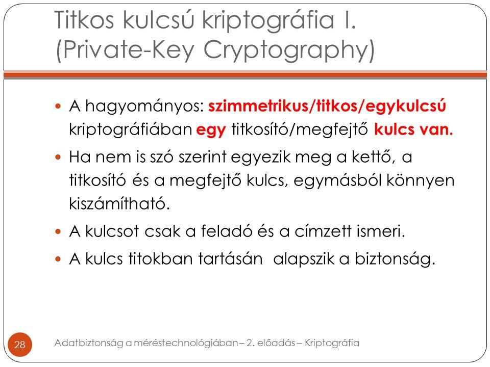 Titkos kulcsú kriptográfia I.