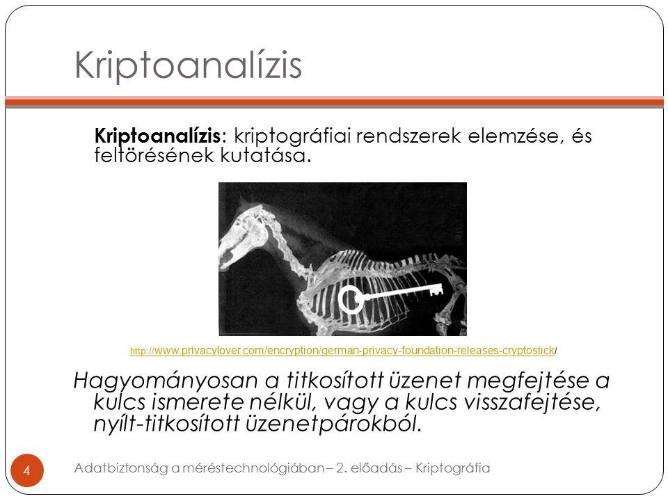 Kriptoanalízis 4 Kriptoanalízis : kriptográfiai rendszerek elemzése, és feltörésének kutatása.