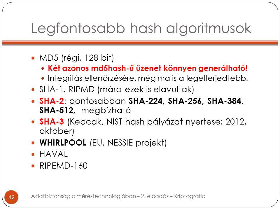 Legfontosabb hash algoritmusok 42 MD5 (régi, 128 bit) Két azonos md5hash-ű üzenet könnyen generálható.