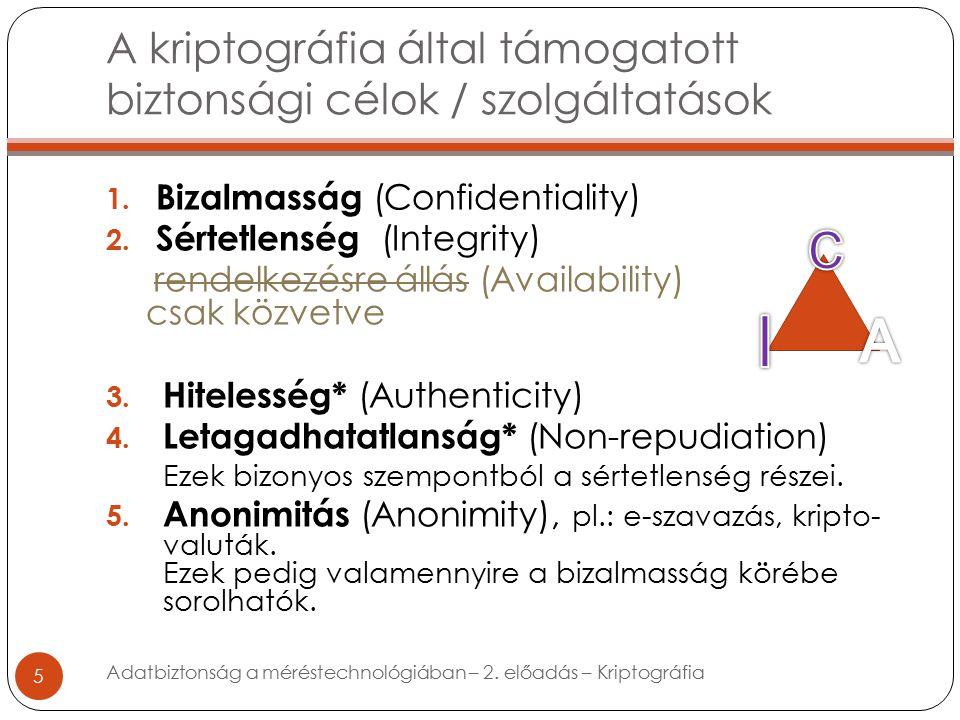 A kriptográfia által támogatott biztonsági célok / szolgáltatások 5 1.
