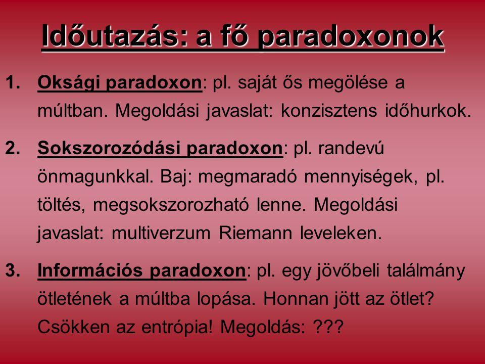 Időutazás: a fő paradoxonok 1.Oksági paradoxon: pl. saját ős megölése a múltban. Megoldási javaslat: konzisztens időhurkok. 2.Sokszorozódási paradoxon