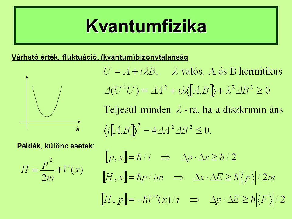 Kvantumfizika Várható érték, fluktuáció, (kvantum)bizonytalanság Példák, különc esetek: λ