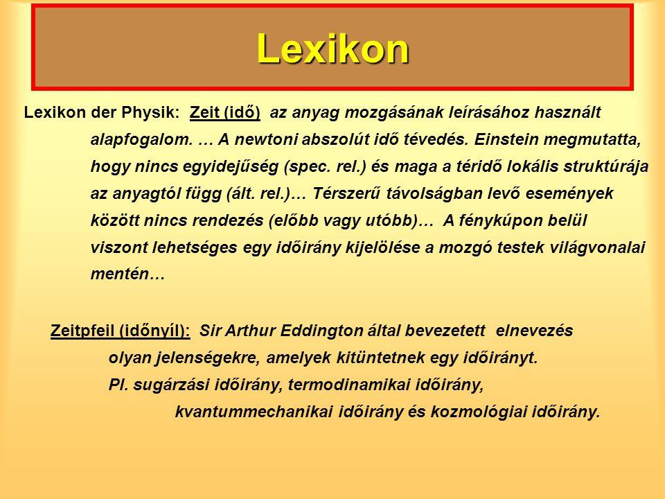 Lexikon Lexikon der Physik: Zeit (idő) az anyag mozgásának leírásához használt alapfogalom. … A newtoni abszolút idő tévedés. Einstein megmutatta, hog