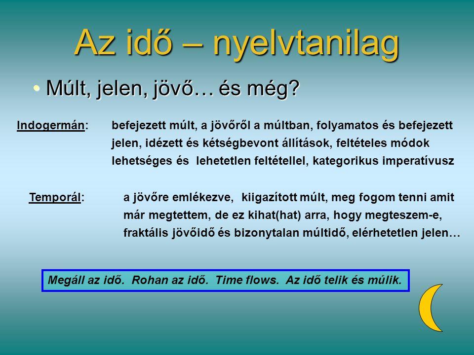 Az idő – nyelvtanilag Múlt, jelen, jövő… és még? Múlt, jelen, jövő… és még? Indogermán:befejezett múlt, a jövőről a múltban, folyamatos és befejezett