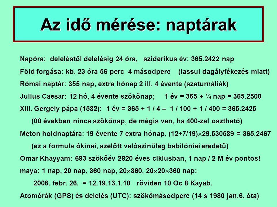 Az idő mérése: naptárak Napóra: deleléstől delelésig 24 óra, sziderikus év: 365.2422 nap Föld forgása: kb. 23 óra 56 perc 4 másodperc (lassul dagályfé