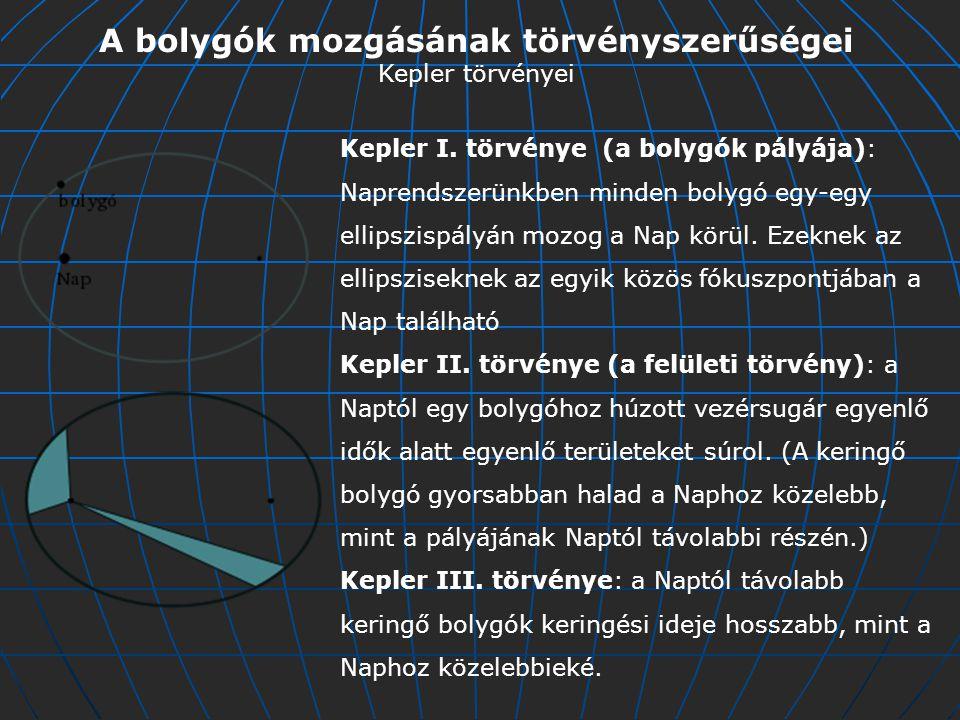 A bolygók mozgásának törvényszerűségei Kepler törvényei Kepler I.