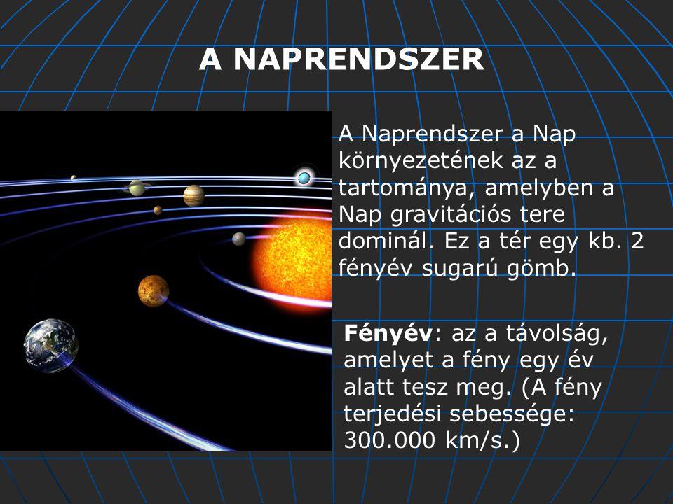 A NAPRENDSZER A Naprendszer a Nap környezetének az a tartománya, amelyben a Nap gravitációs tere dominál.