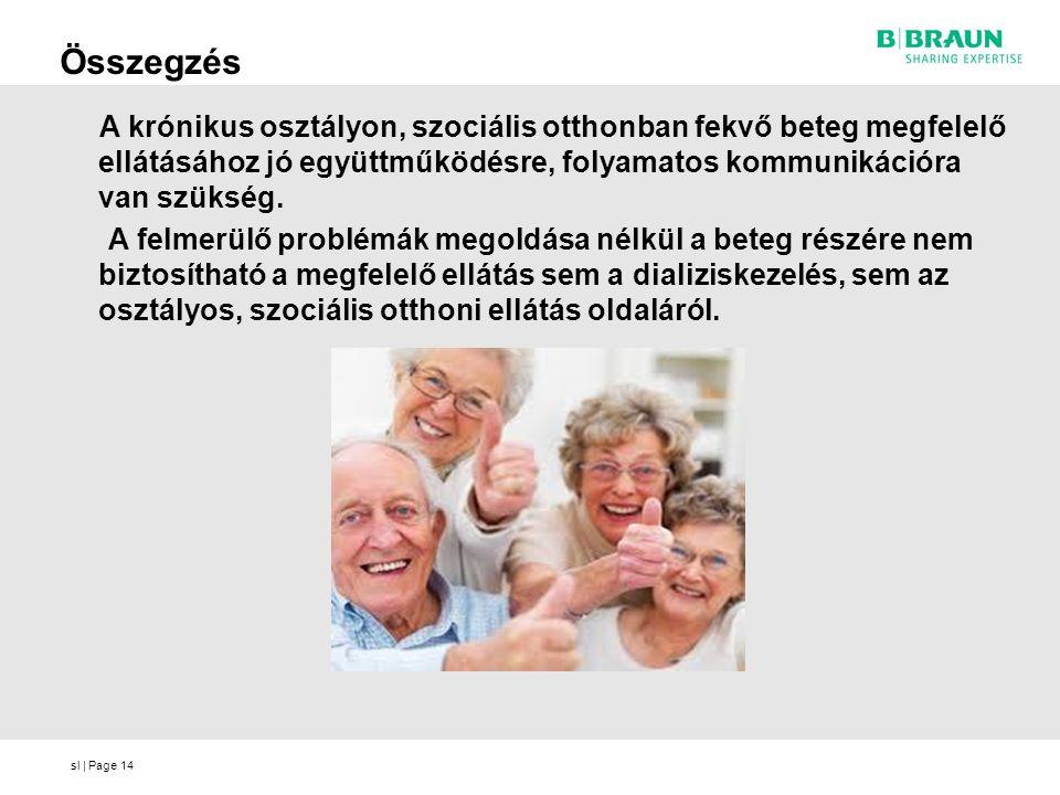 sl   Page14 Összegzés A krónikus osztályon, szociális otthonban fekvő beteg megfelelő ellátásához jó együttműködésre, folyamatos kommunikációra van sz