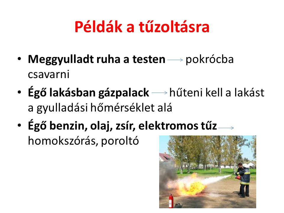 Példák a tűzoltásra Meggyulladt ruha a testen pokrócba csavarni Égő lakásban gázpalack hűteni kell a lakást a gyulladási hőmérséklet alá Égő benzin, o