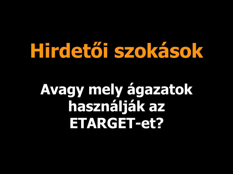 Hirdetői szokások Avagy mely ágazatok használják az ETARGET-et
