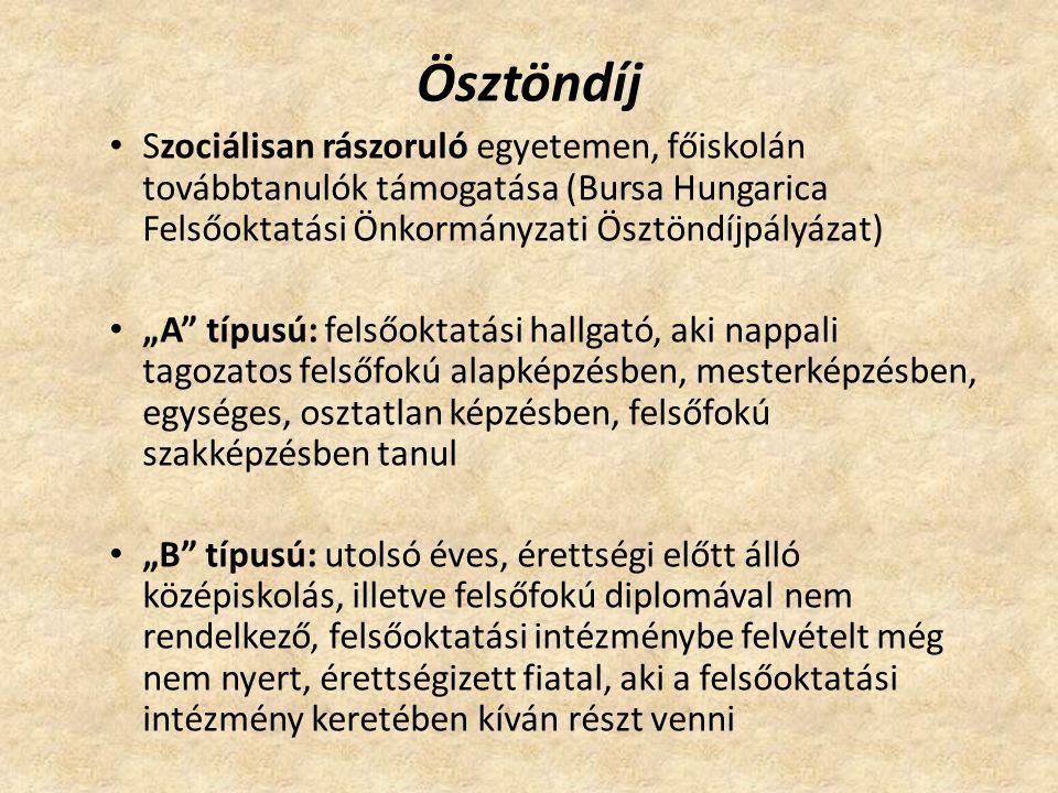 """Ösztöndíj Szociálisan rászoruló egyetemen, főiskolán továbbtanulók támogatása (Bursa Hungarica Felsőoktatási Önkormányzati Ösztöndíjpályázat) """"A típusú: felsőoktatási hallgató, aki nappali tagozatos felsőfokú alapképzésben, mesterképzésben, egységes, osztatlan képzésben, felsőfokú szakképzésben tanul """"B típusú: utolsó éves, érettségi előtt álló középiskolás, illetve felsőfokú diplomával nem rendelkező, felsőoktatási intézménybe felvételt még nem nyert, érettségizett fiatal, aki a felsőoktatási intézmény keretében kíván részt venni"""